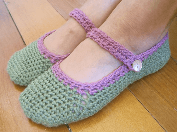 Mary Jane Slipper Crochet Pattern by The Little House By The Sea