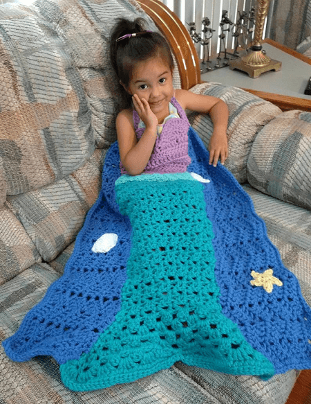 Mermaid Princess Blanket Crochet Pattern by Loopsy Crochet Pattern