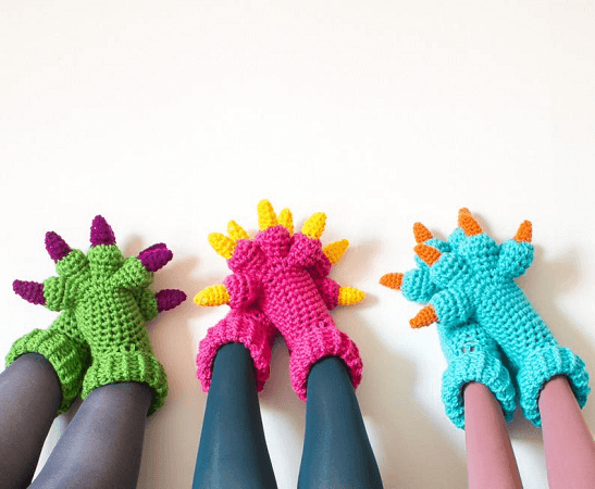 Monster Slippers Crochet Pattern by Knits For Life
