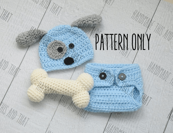 Newborn Puppy Hat And Diaper Cover Crochet Pattern by Handmade This And That