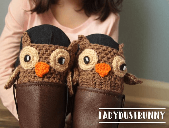 Owl Boot Cuffs Crochet Pattern by Lady Dust Bunny
