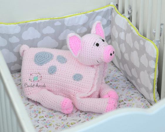 Pig Baby Blanket Crochet Pattern by Crochet Arcade