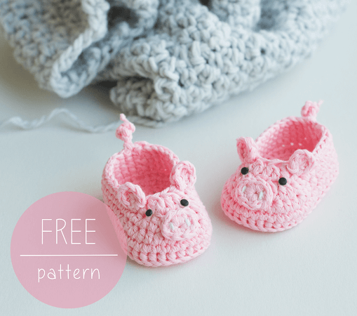 Piggy Baby Booties Crochet Pattern by Croby Patterns