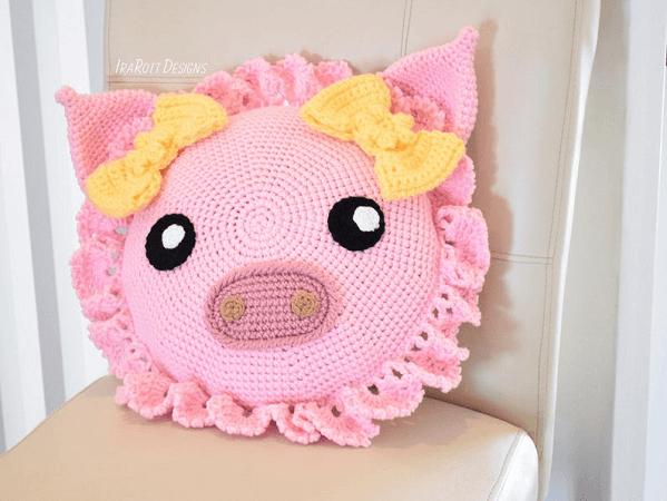 Pinky, The Piggy Pillow Crochet Pattern by Ira Rott Patterns