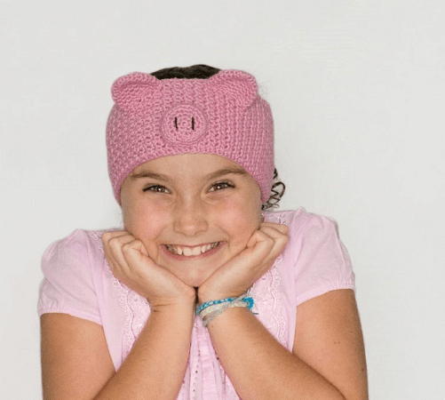 Pretty Pig Headband Crochet Pattern by Hopeful Honey
