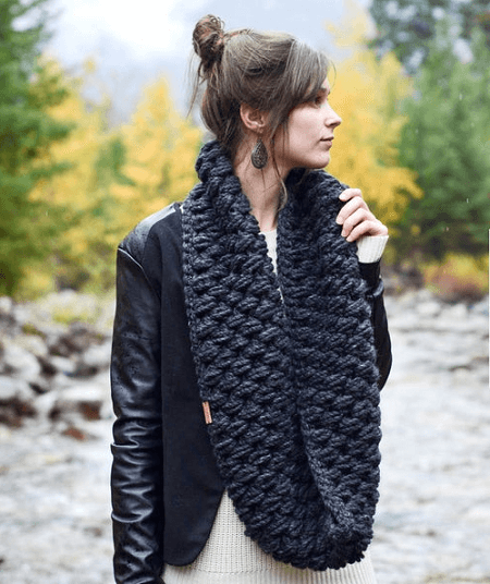 Puff Stitch Infinity Scarf Crochet Pattern by Knit Brooks