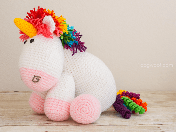 Rainbow Cuddles Crochet Unicorn Pattern by One Dog Woof