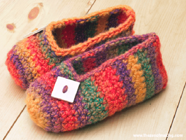 Rainbow Striped Slippers Crochet Pattern by Red Handled Scissors