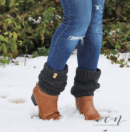 Slouchy Ankle Boot Cuff Crochet Pattern by Nozy Nooks Designs
