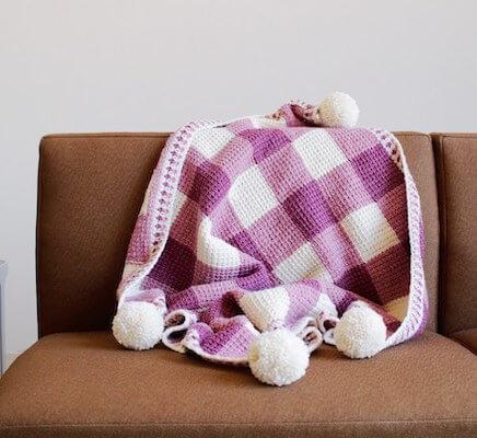 Sweet Baby Gingham Crochet Blanket Pattern by TL Yarn Crafts