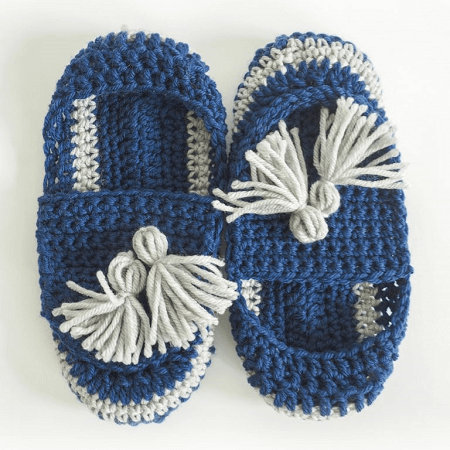 Tassel Slip-on Slippers Crochet Pattern by Dabbles And Babbles