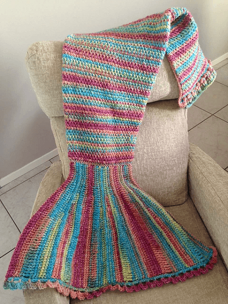 Tunisian Mermaid Tail Blanket Crochet Pattern by Nadia Knits