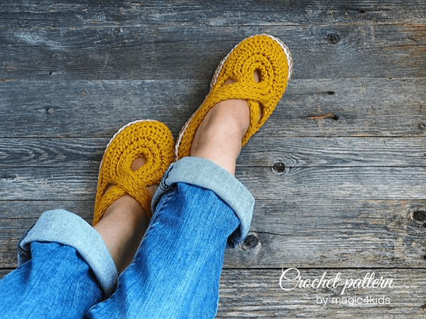Twisted Slippers Crochet Pattern by Magic 4 Kids