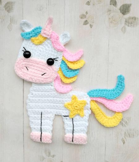 Unicorn Applique Crochet Pattern by Fancy Infancy Crochet
