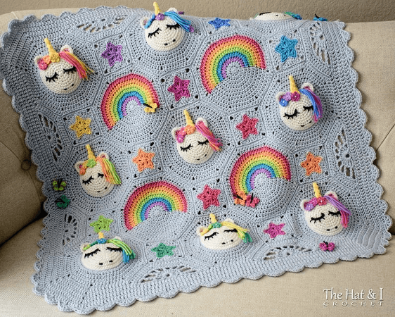 Unicorn Blanket Crochet Pattern by The Hat And I