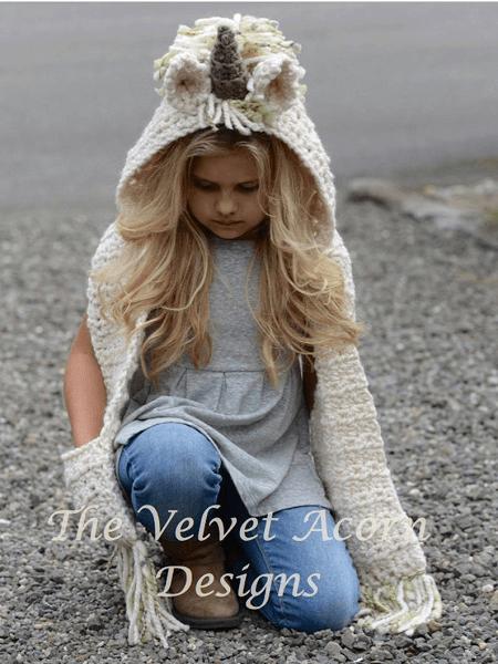 Unicorn Hooded Scarf Crochet Pattern by The Velvet Acorn