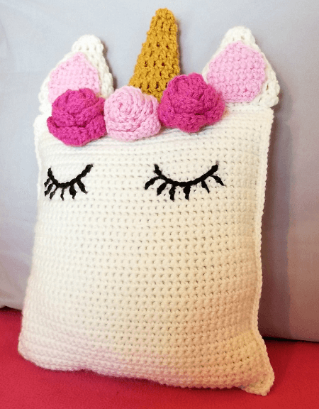 Unicorn Pillow Friend Crochet Pattern by Hooked On Handmade Happiness