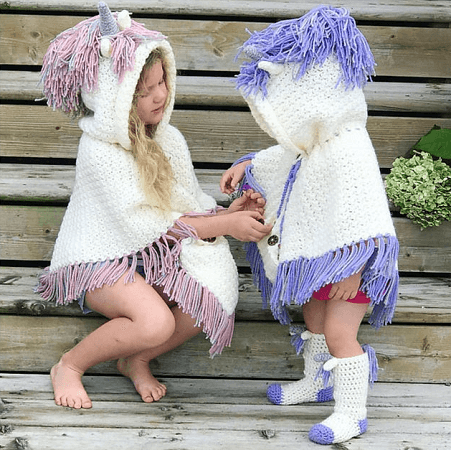 Unicorn Poncho And Socks Crochet Pattern by Mjs Off The Hook Designs