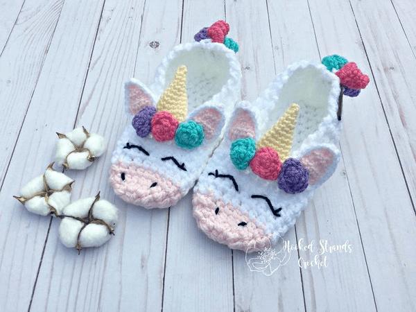 Unicorn Slippers Crochet Pattern by Hooked Strands Crochet