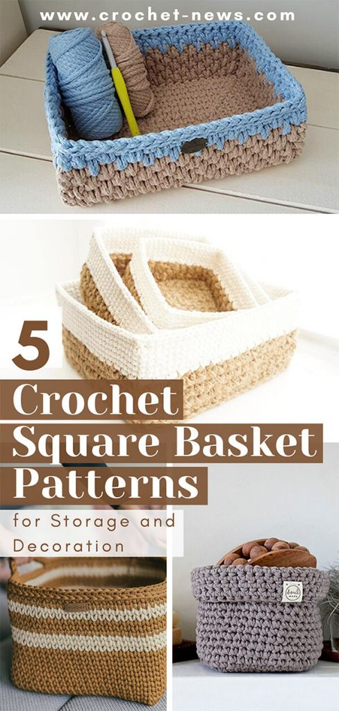 5 Crochet Square Basket Patterns