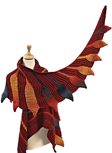 Embossed Phoenix Vortex Shawl By Bonita Patterns