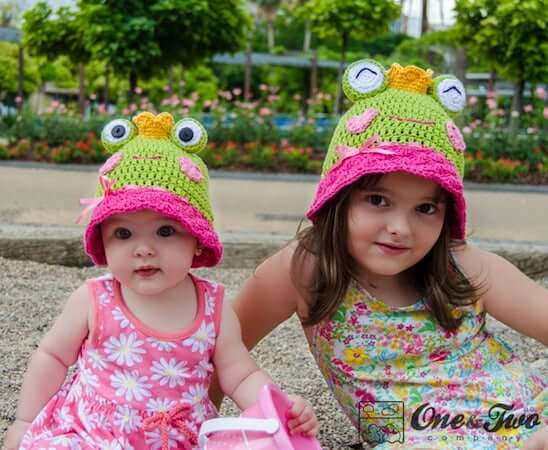 Amy, The Frog Sun Hat Crochet Pattern by One And Two Company