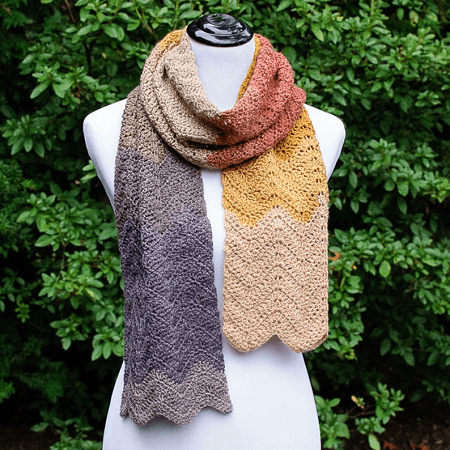 Autumn Ripple Scarf Crochet Pattern by Petals To Picots