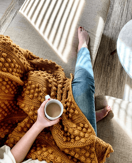 Bobble Throw Blanket Crochet Pattern by Modern Made Shop