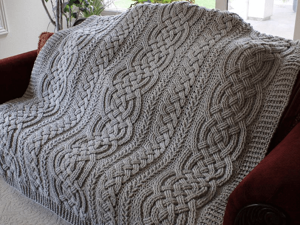 Bulky Cable Braided Blanket Crochet Pattern by Rebecca's Stylings