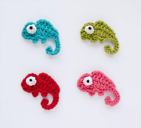 Chameleon Applique Crochet Pattern by One And Two Company
