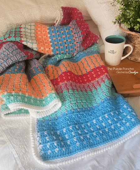 Chasing Colors Free Crochet Blanket Pattern by The Purple Poncho