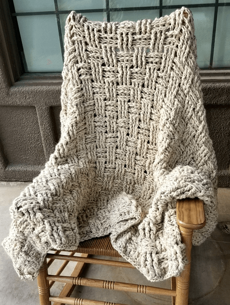 Chunky Basketweave Blanket Crochet Pattern by Hooked On Homemade Happiness