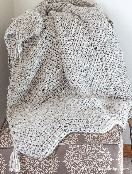 Chunky Chevron Throw Blanket Crochet Pattern by Krista Cagle