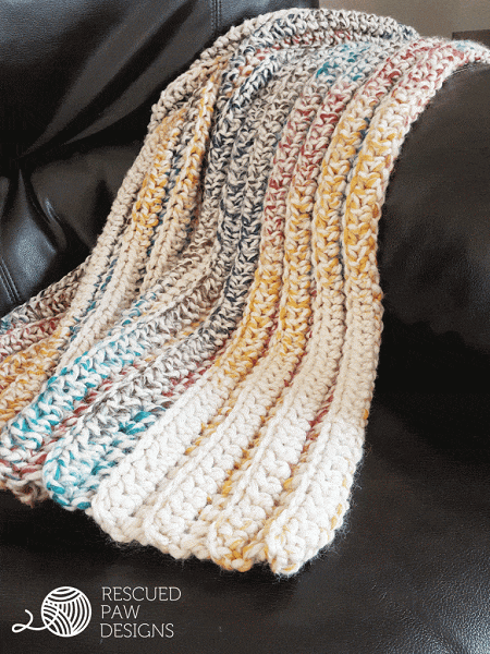Chunky Crochet Blanket Pattern by Rescued Paw Designs
