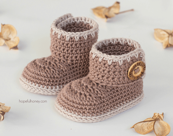 Cocoa Baby Ankle Booties Crochet Pattern by Hopeful Honey