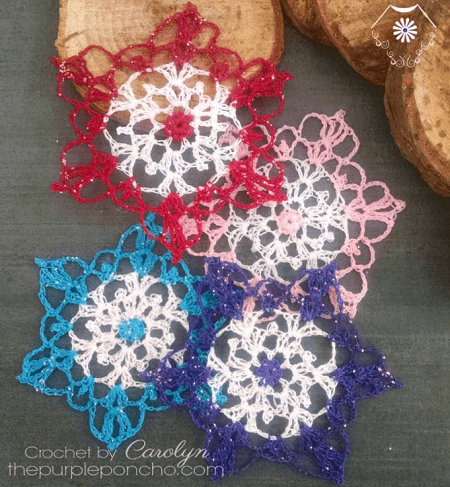 Colorful Snowflake Crochet Pattern by The Purple Poncho
