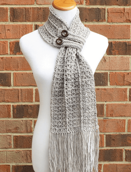 Crochet Button Scarf Pattern by Alyse Crochet