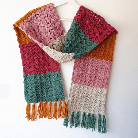Crochet Color Block Scarf Free Pattern by Annie Design Crochet