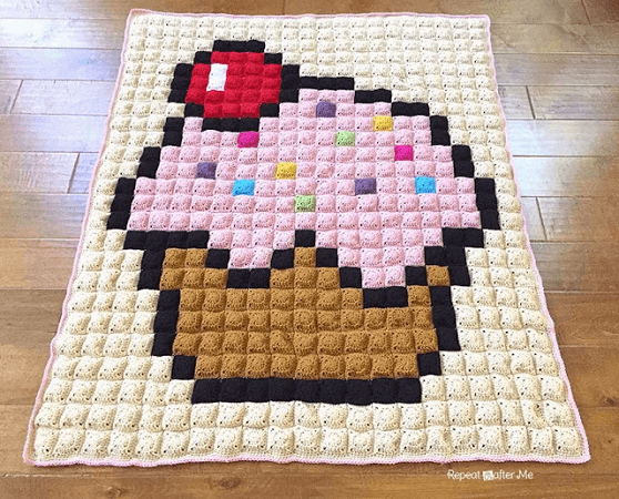 Crochet Cupcake Pixel Blanket Pattern by Repeat Crafter Me