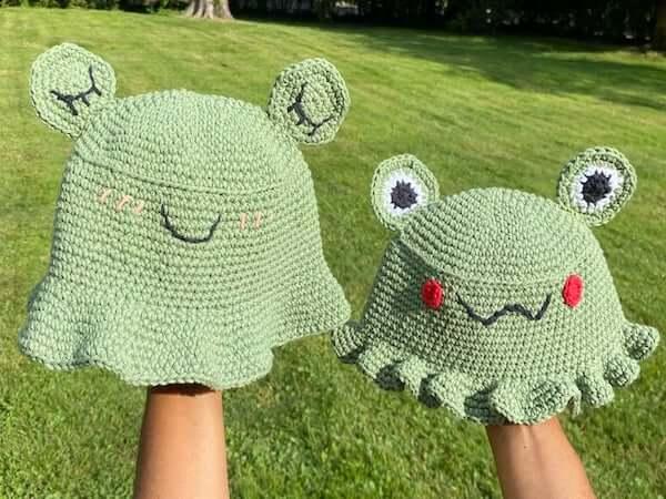 Crochet Frog Bucket Hats Pattern by Punk Crochetier