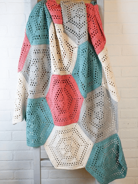 Hexagon Free Crochet Blanket Pattern by Winding Road Crochet