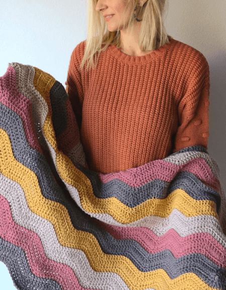 Crochet Ripple Blanket Free Pattern by Melanie Ham