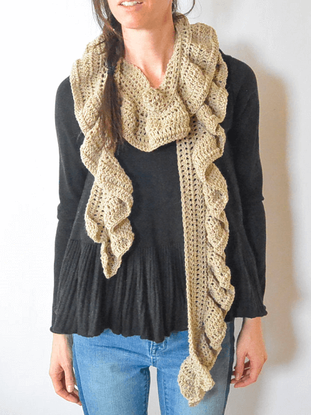 Crochet Ruffle Scarf Pattern by Mama In A Stitch