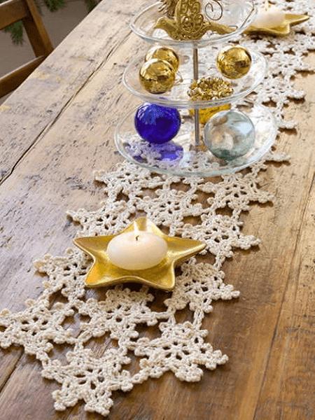 Crochet Snowflake Table Runner Pattern bt Red Heart