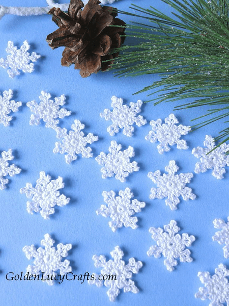 Crochet Tiny Snowflake Pattern by Golden Lucy Crafts
