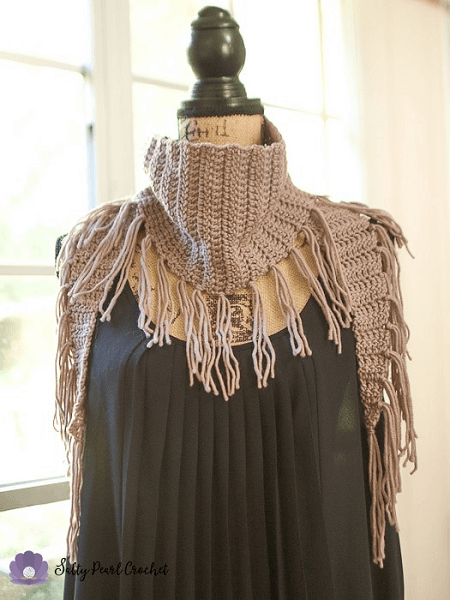 Fringed Triangle Free Crochet Scarf Pattern by Salty Pearl Crochet