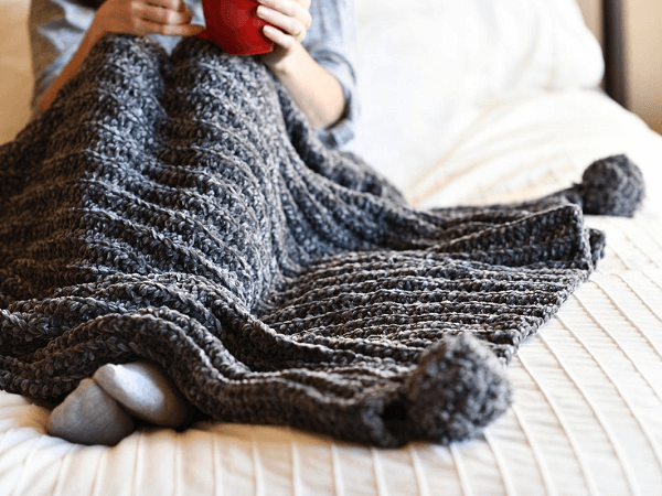 Knit Look Crochet Throw Blanket Crochet Pattern by Mama In A Stitch