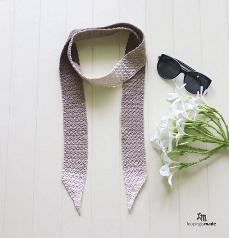 Mocha Skinny Scarf Crochet Pattern by Loopingly Made
