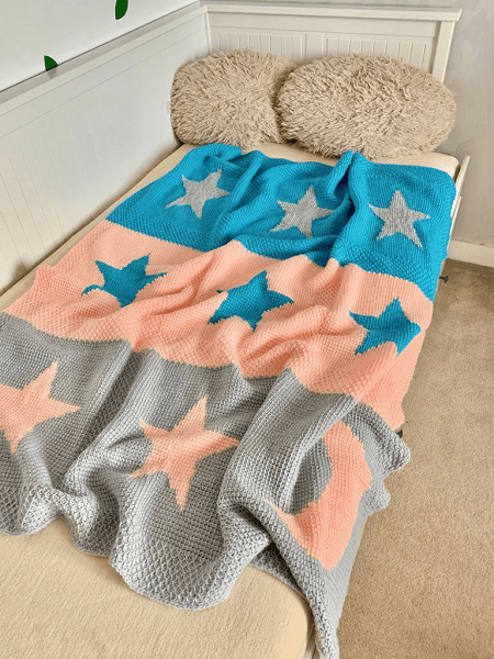 Moon And Stars Tunisian Crochet Blanket Pattern by Exquisite Crochet UK