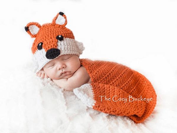 Newborn Hat And Cape Set Fox Crochet Pattern by The Cozy Buckeye